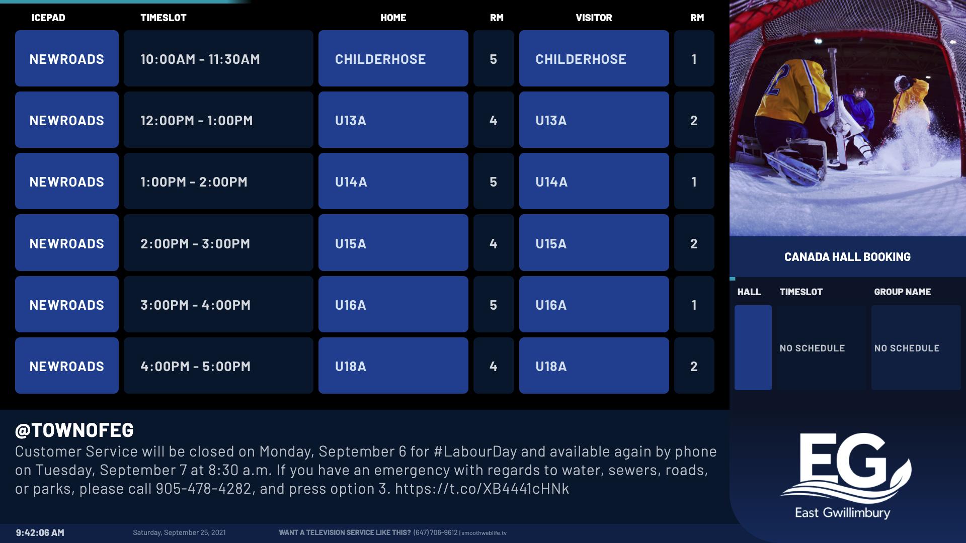 Digital Room and Ice Schedule from SmoothWebLifeTV